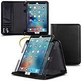 Genuine Leather iPad Pro 12.9 2017, rooCASE Premium Leather Executive Portfolio Case Cover with Apple Pencil Holder for Apple iPad Pro 12.9 2017, Black