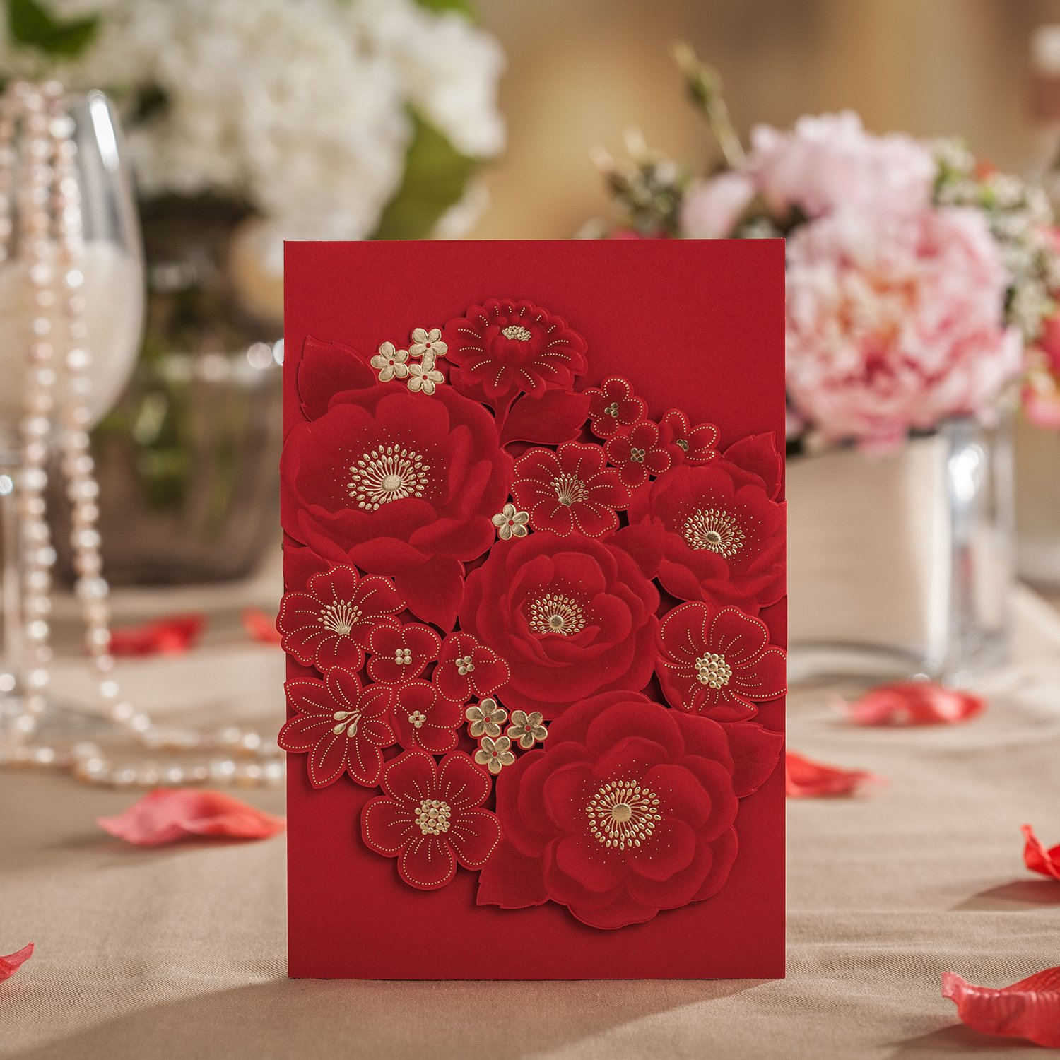 Wishmade Wedding Invitation Cards 20 Sets Wedding Invitation Cards 20 Red Flower Laser Cut Wedding Invitations Card Personalized Custom Printable with Envelope & Seals Wedding Supplies