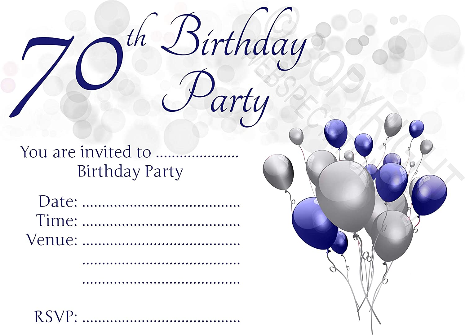 Blue /& Silver Seventieth Invites for Male//Female Birthday Parties Pack of 100 Blue /& Silver with Envelopes 10-100 Pack of 70th Birthday Party Invitations with Envelopes