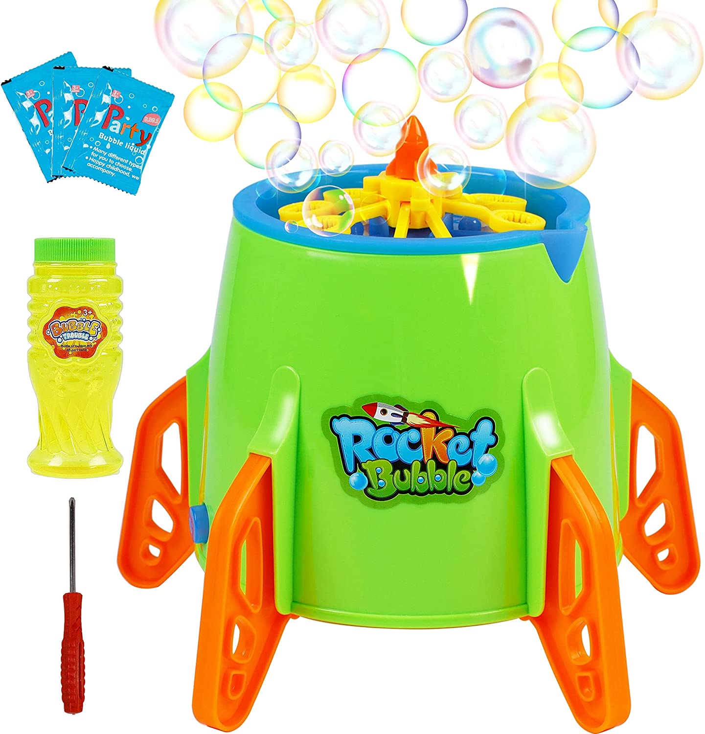 Lulu Home Bubble Machine, Automatic Space Rocket Bubble Blower for Toddlers Kids Girls Boys Graduation Parties, Blowing 3000+ Bubbles Per Minute Accompanied with Music and Lights