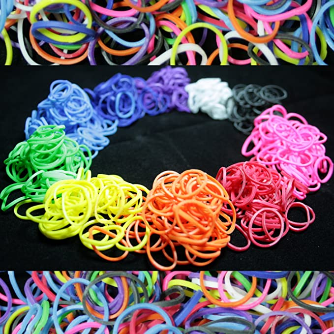 Special Blue Heart Loom Rubber Bands Lot de 300 crochet clips