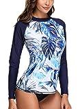 CharmLeaks Women's Rashguard Long Sleeve UV Rash Guard Shirt Swimwear Rash Guard