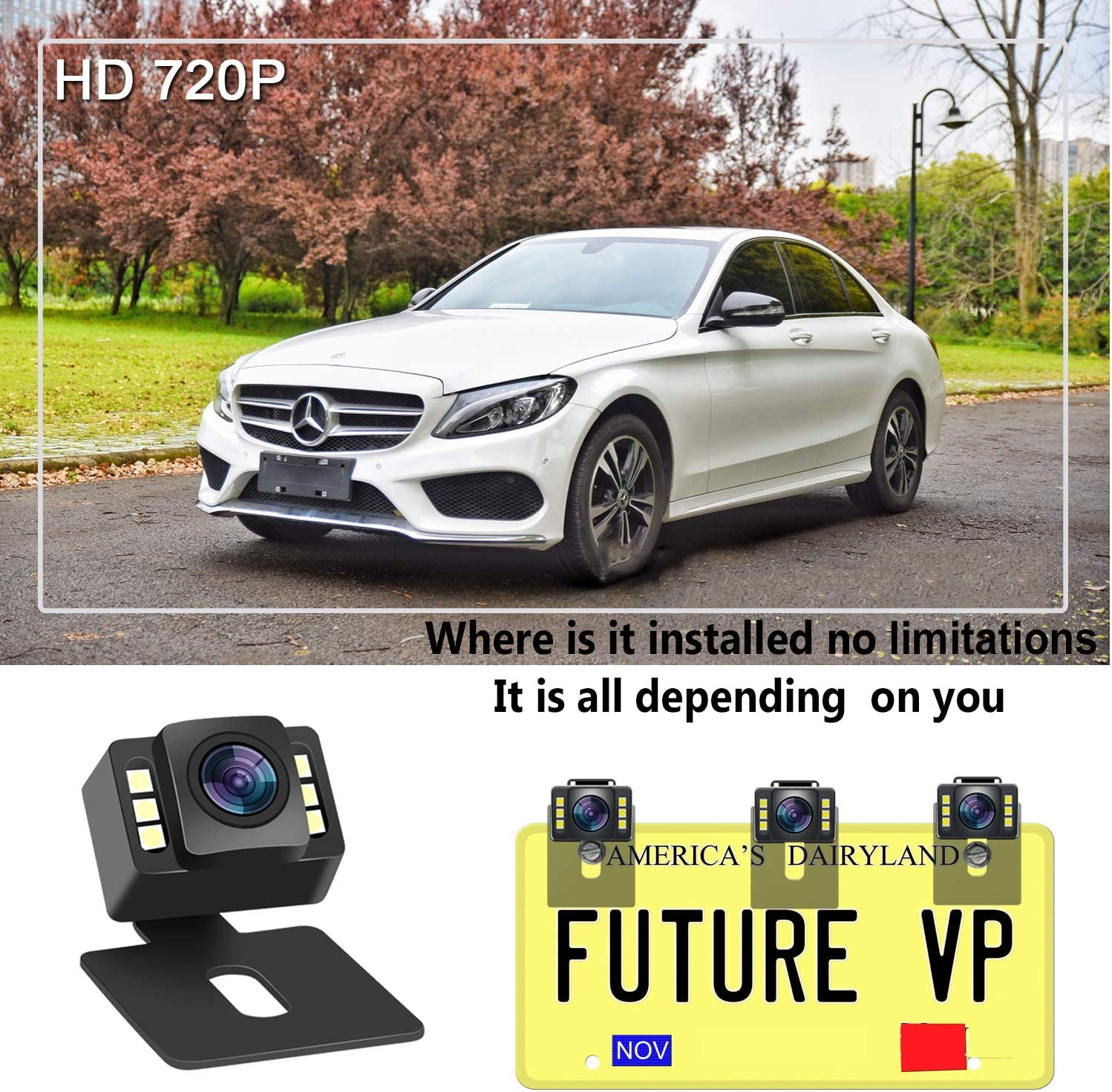 Rear//Front View Camera Adjustable,Guide Lines On//Off,IP69 Waterproof Emmako Wireless Backup Camera System With 4.3 Monitor For Car//SUV//Minivan