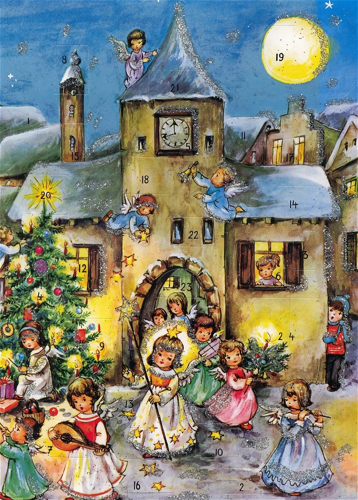 Set of Five Advent Calendars with Children and Angels