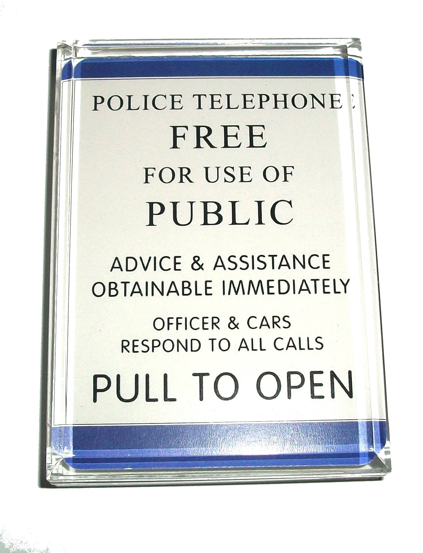 Dr. Who Tardis Police Sign Acrylic Executive Display Piece or Desk Paperweight