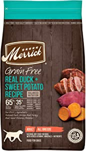 Merrick Grain Free Duck + Sweet Potato Recipe Dry Dog Food, 4 lbs.