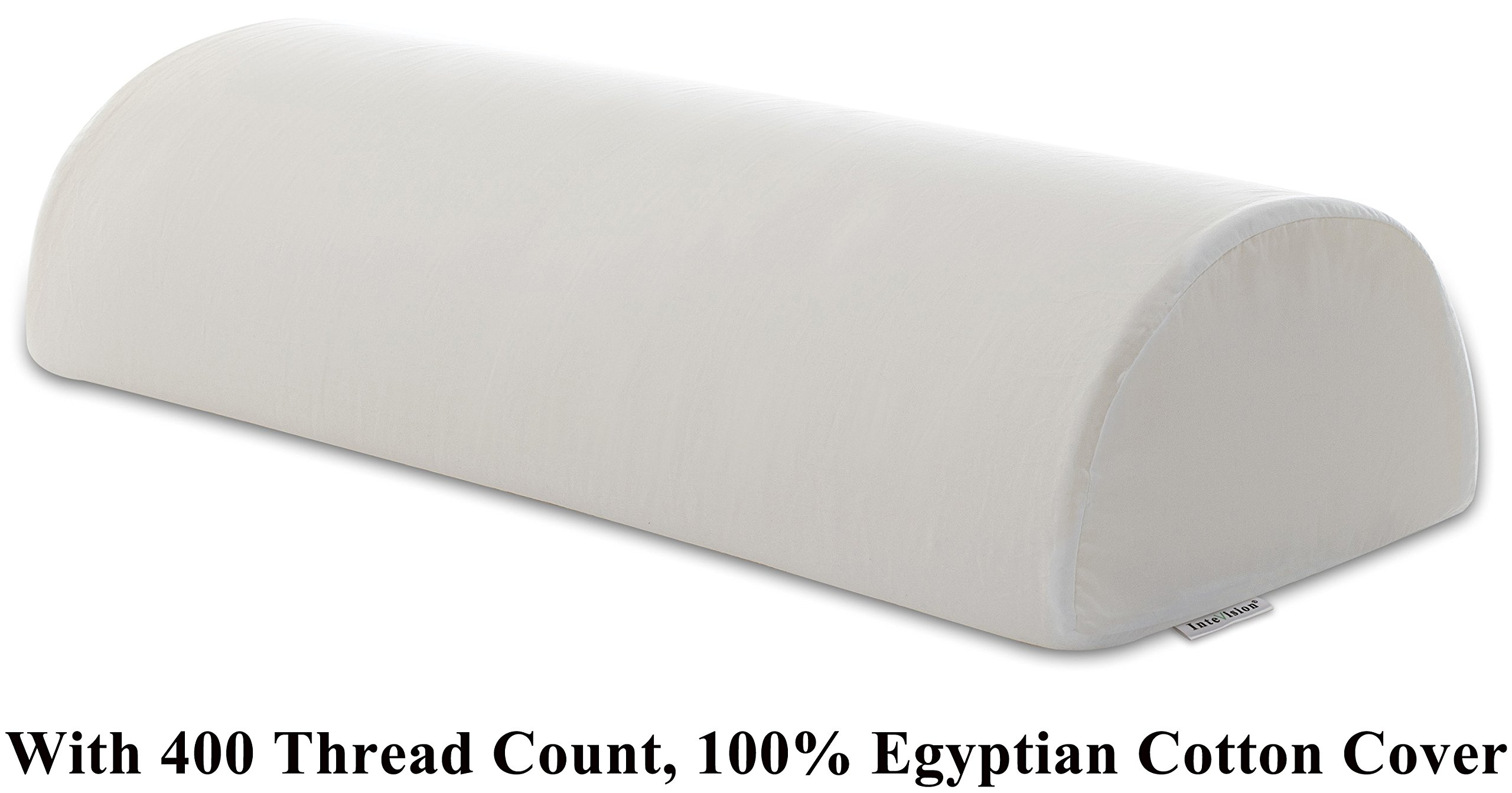 InteVision Four Position Support Pillow (20.5'' x 8'' x 4.5'') with 400 Thread Count, 100% Egyptian Cotton Cover