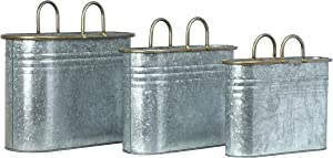 Creative Co-op Decorative Galvanized Metal Handles, Set of 3 Container