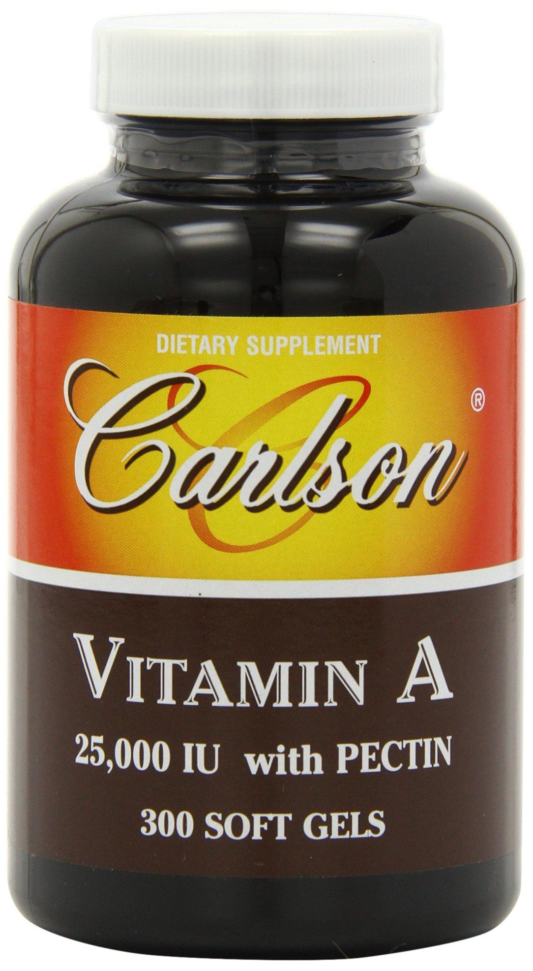 Carlson Labs Vitamin A with Pectin, 25000 IU, 300 Softgels