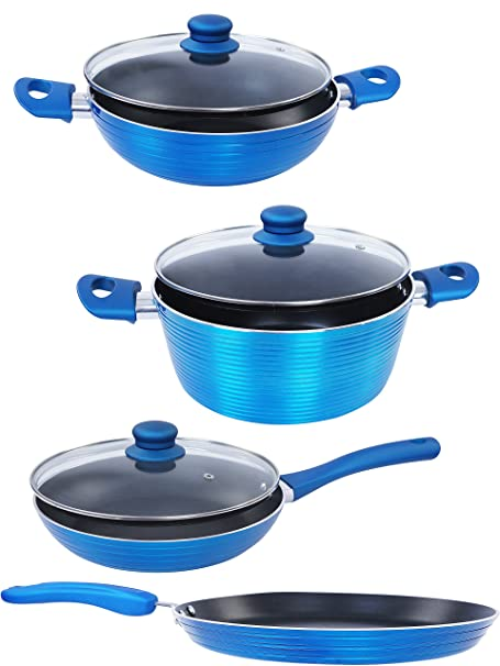 Nirlon Aluminium Cookware Set, 4-Pieces, Blue (FGD_FT28FP24KD22CS24) Pot & Pan Sets at amazon