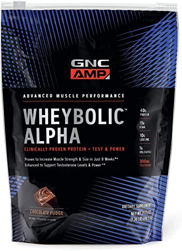 GNC AMP Wheybolic Alpha Whey Protein Powder – Chocolate Fudge, 9 Servings, Contains 40g Protein and 15g BCAA Per Serving