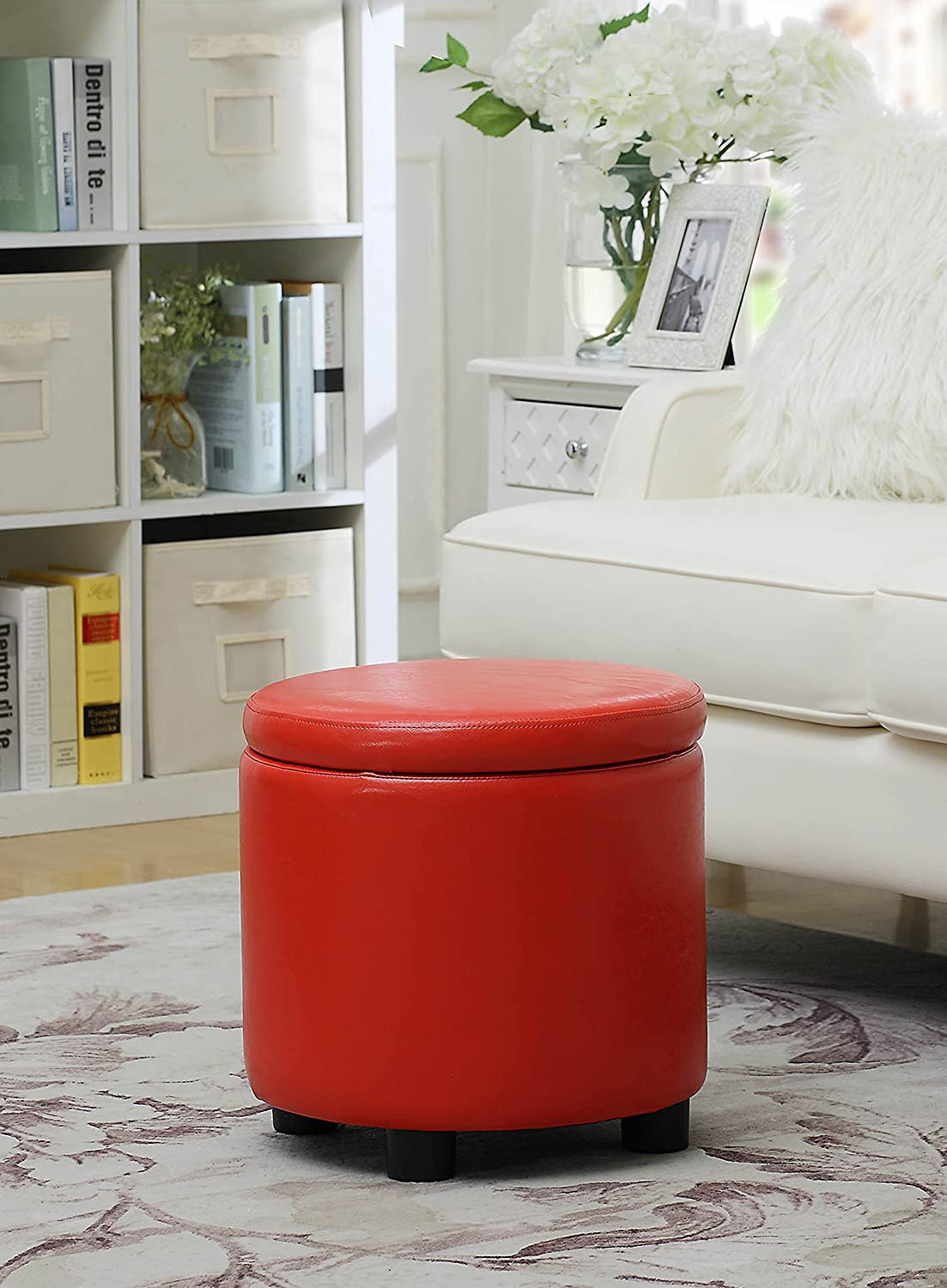 Convenience Concepts Designs4Comfort Round Accent Storage Ottoman, Red