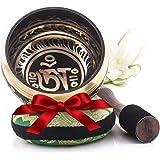 Tibetische Klangschale – Vollständiges Set mit Klöppel und Kissen – Made in Nepal