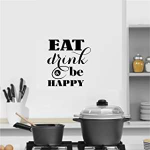 Home Wall Decals Decor - Eat Drink and be Happy - Wall Sayings Scriptures Uplifting Inspirational Quotes