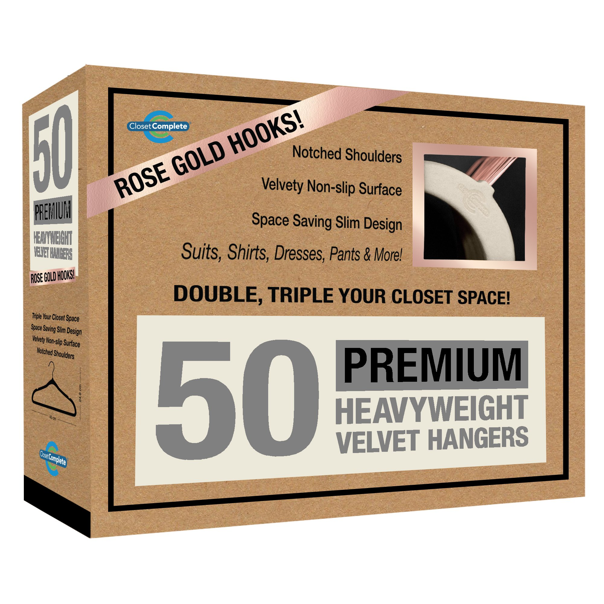 Closet Complete Premium Quality, True-Heavyweight, 80-gram, Virtually-UNBREAKABLE Velvet Hangers, Ultra-Thin,  No Slip, Best for SUIT, Dress, Pants, Shirt, 360º Spin, ROSE GOLD Hooks, Ivory Set of 50