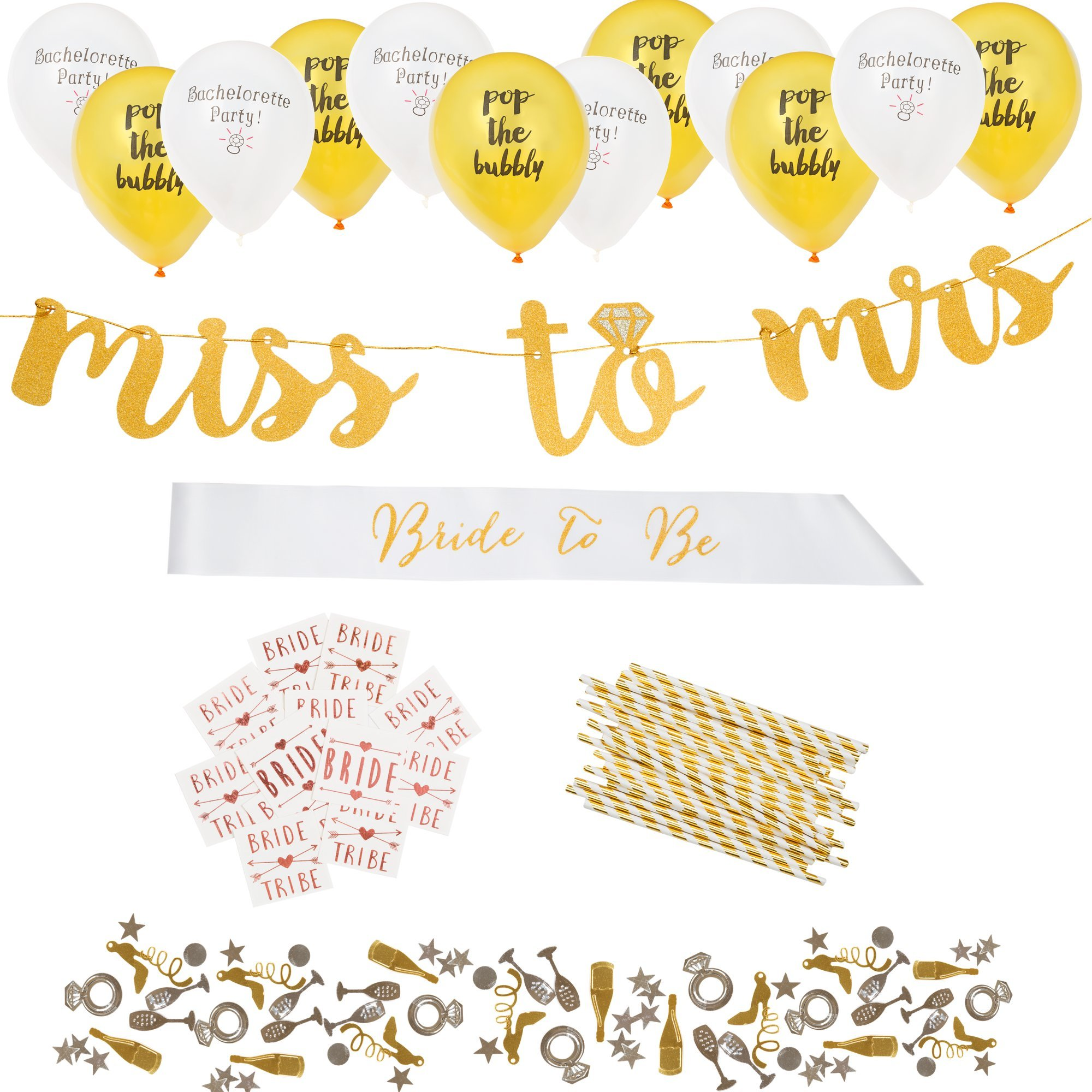 Complete Bachelorette Party Decorations Kit by ASUSA - Miss to Mrs Banner, Bride to Be Sash, Bride Tribe Flash Tattoos, Photo Booth Props, & More - Engagement Gifts and Bridal Shower Decorations by ASUSA