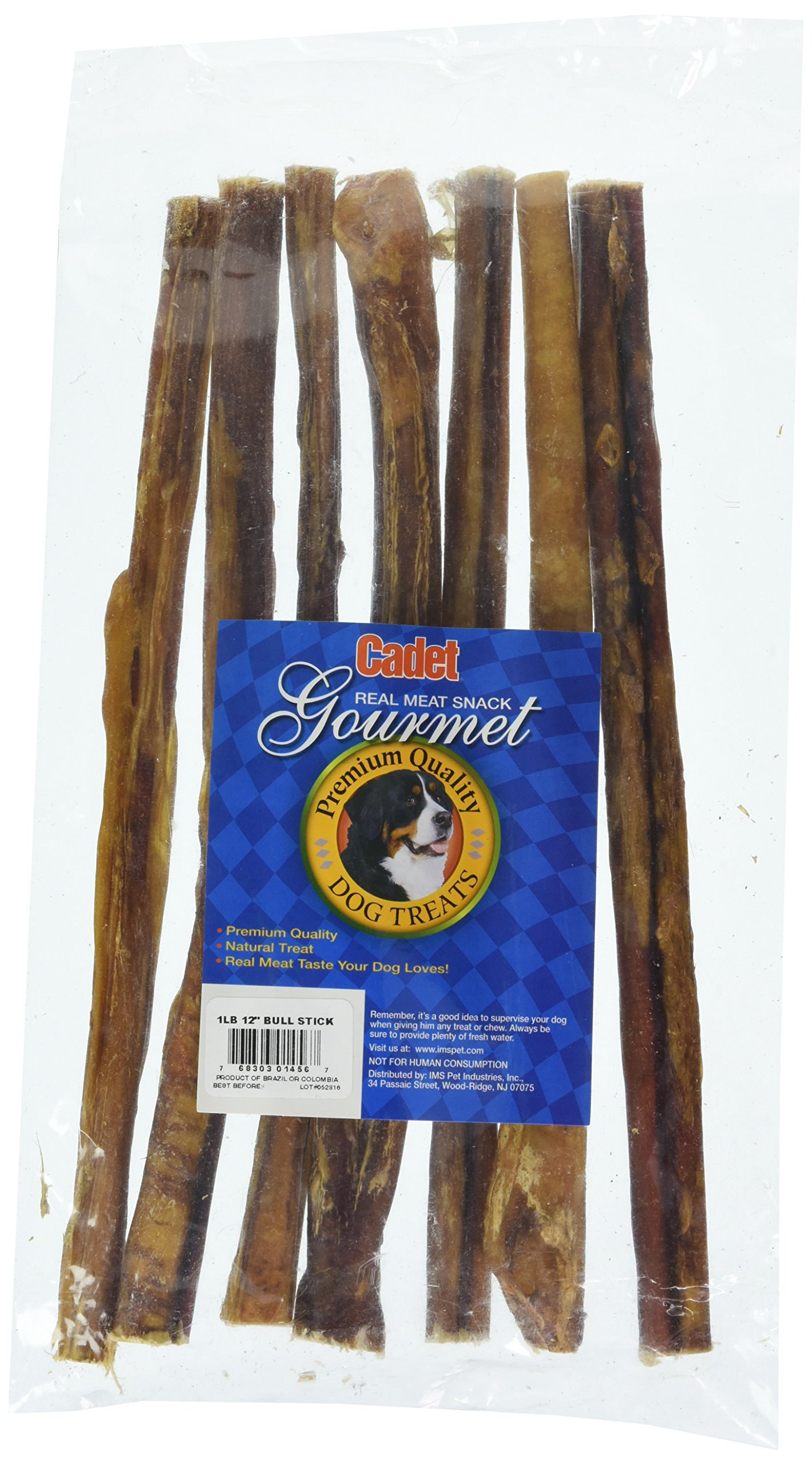 Cadet Gourmet 1 Pound All Natural Bully Sticks - 12 Inch Straight Bully Medium Thickness Bully Sticks Never Sourced From China - Approx 7-9 Sticks per Bag.