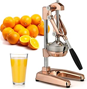 Zulay Professional Citrus Juicer - Premium Manual Citrus Press and Orange Squeezer - Metal Lemon Squeezer - Extra Tall Heavy Duty Manual Orange Juicer and Lime Squeezer Press Stand - Rose Gold