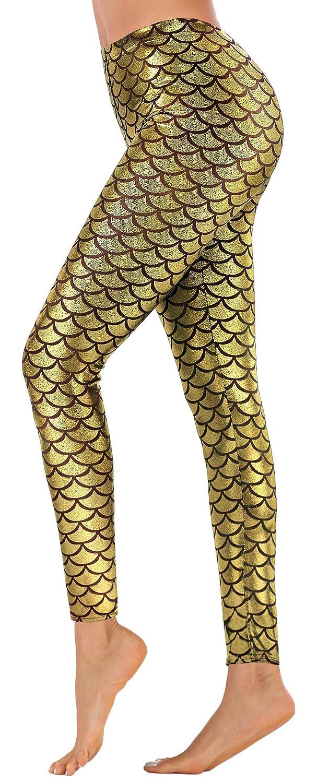 Jescakoo Digital Print Mermaid Fish Scale Stretch Leggings Pant for Women S-3XL