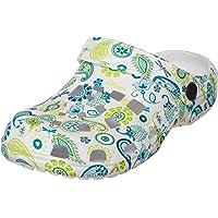 Brandsseller - Zuecos para mujer con suela antideslizante, calzado para estar por casa, diseño con impresión