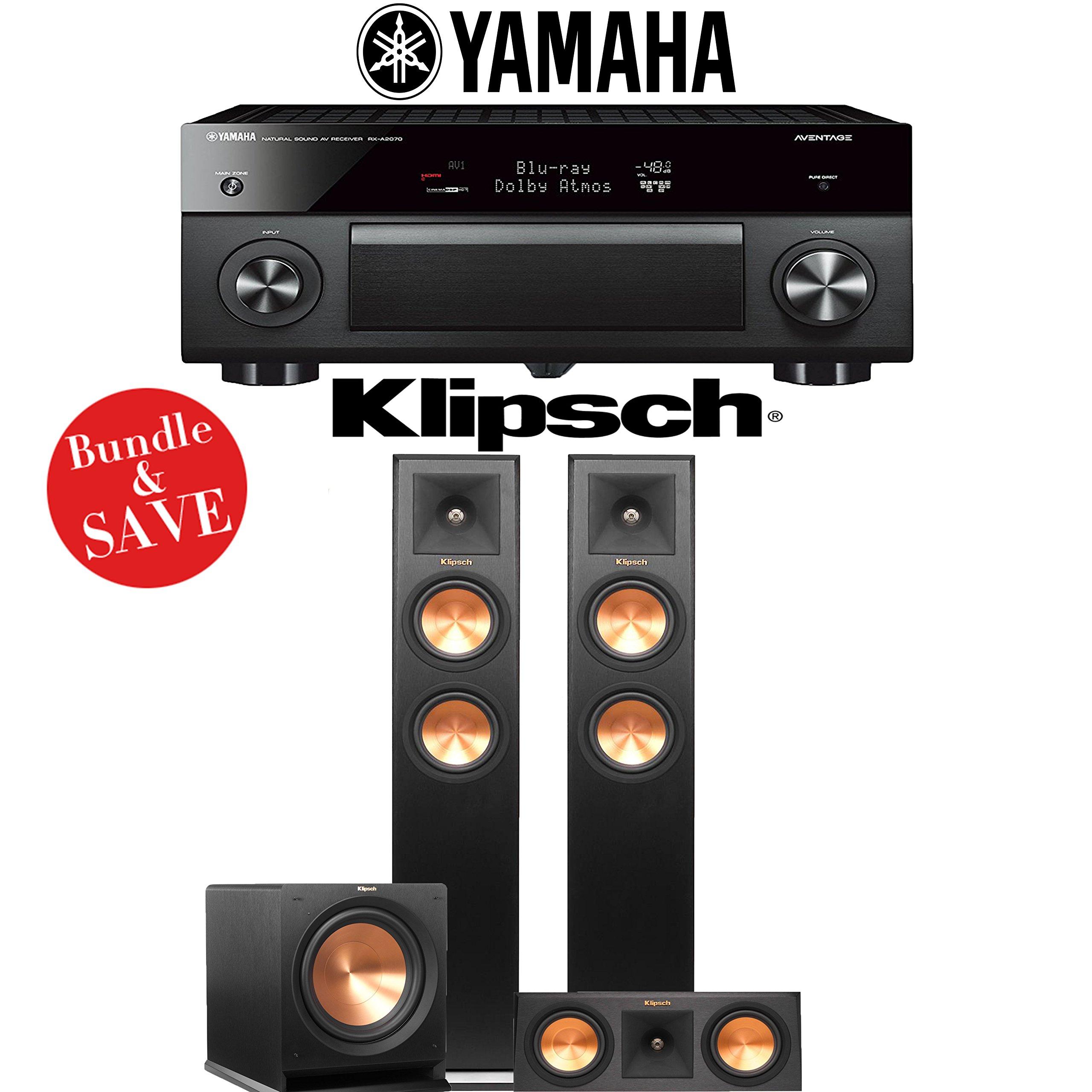 Yamaha AVENTAGE RX-A2070BL 9.2-Ch 4K Network AV Receiver + Klipsch RP-250F + Klipsch RP-250C + Klipsch R-112SW - 3.1-Ch Home Theater Package by Yamaha