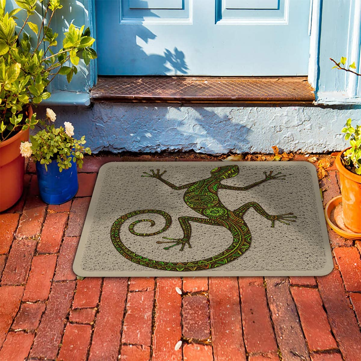 Fantasy Star Outdoor Indoor Entrance Doormat 24 x 36 , Floral Printed Gecko Front Welcome Door Mats Inside Outside Rugs, Waterproof Non Slip and Durable