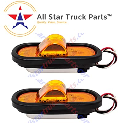 "Qty 2 6"" Mid Turn Signal Amber Marker Light Rubber Mount 18 LED w/Reflex Lens Universal Waterproof 6 Inch Oval Led Mid-Ship Marker and Turn Signal Semi Truck Trailer Peterbilt Kenworth Light: Automotive"