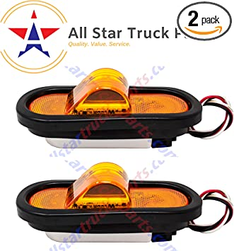 Set of 4 Lights DOT//SAE Approved and Marked ALL STAR TRUCK PARTS Super Bright! 6 Inch Amber Oval 24 LED Mid Turn Tail Signal Truck Light w Rubber Grommet+3 wire Pigtail Trailer Plug Waterproof