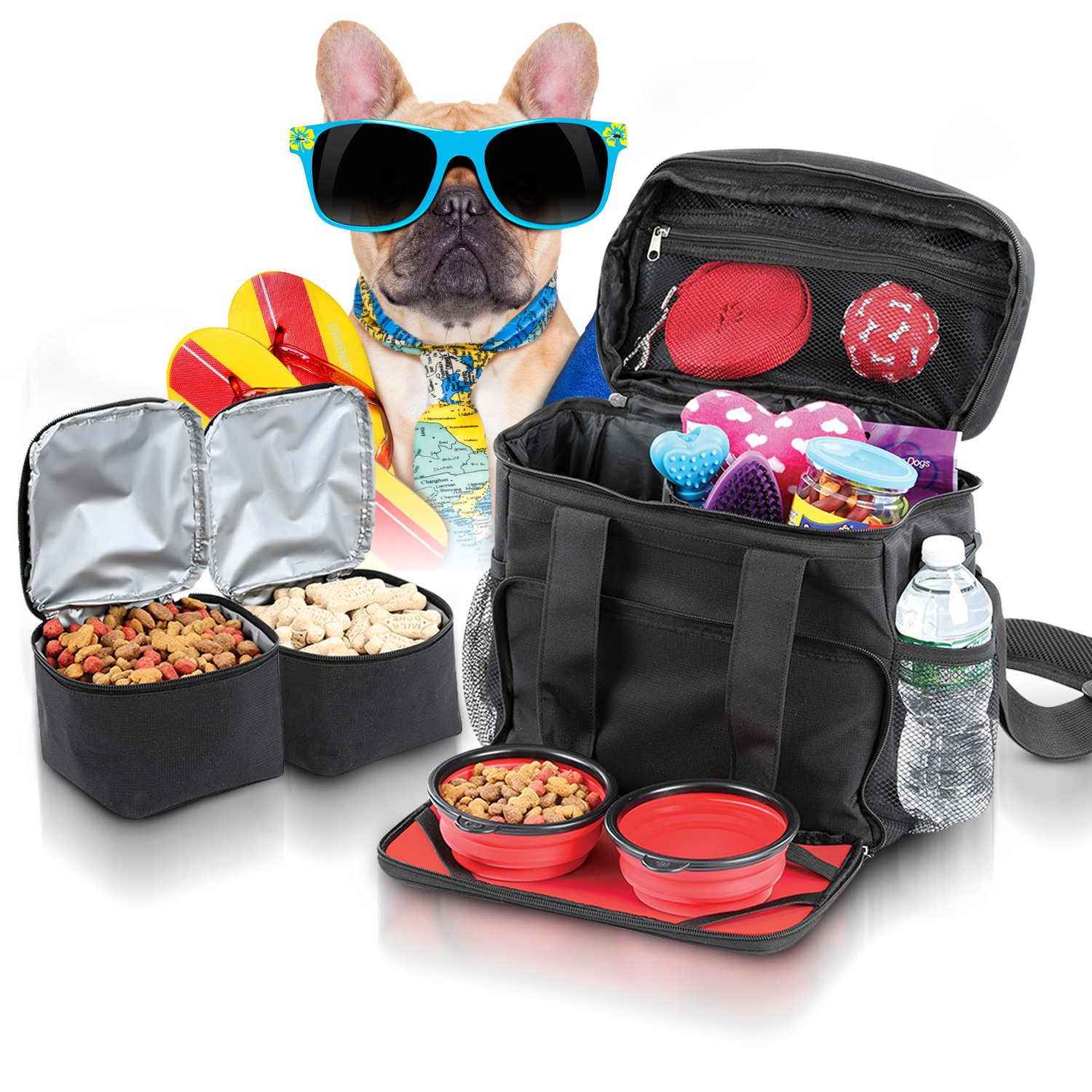 Dog Travel Bag Airline Approved Purse for Accessories - Dog Tote Bag as Pet Travel Bag for Supplies and Dog Luggage Suitcase for Small Medium Large Dogs With 2 Collapsible Doggie Bowls & Food Holders