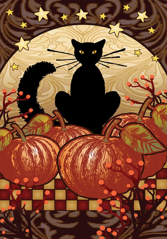 Toland Home Garden Moonlight Cat 28 x 40 Inch Decorative Spooky Black Kitty Halloween Pumpkin House Flag