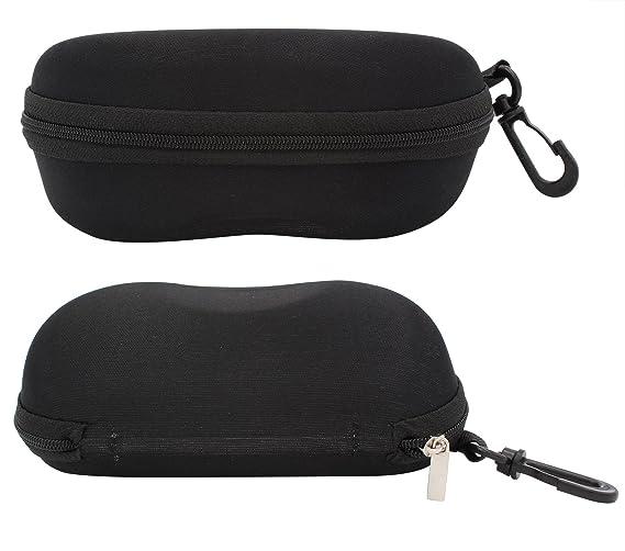 7b6b0d7d2e TBOC Funda Rígida Gafas de Sol - [Pack 2 Unidades] Estuche Negro Ligero con  Cremallera para Cinturón Bolso Mochila Coche para Guardar Gafas de Ver  Lectura ...