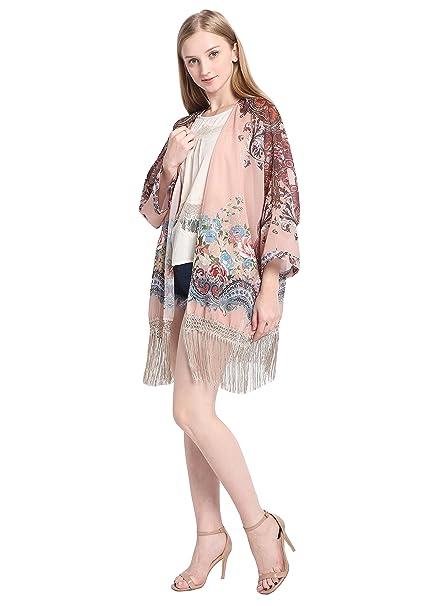 Jaky Global Kimono cardigan blusa floral de chifón para mujer, ropa de playa