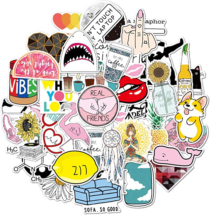 Stickers for Water Bottles,|Big 46-Pack|Cute,Aesthetic,Trendy Stickers for Teens,Girls,Perfect for Laptop,Hydro Flask,Phone,car,Skateboard,Travel(46 Cute)