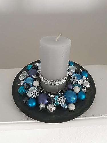 Adventsgesteck Mit Kerze Blau Kugeln Modern Tischdeko Winter