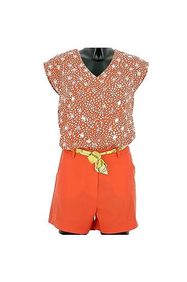 7e1a198a05 Lonalopa Short Femme Orange Taille Haute Ceinture Foulard: Amazon.fr:  Vêtements et accessoires