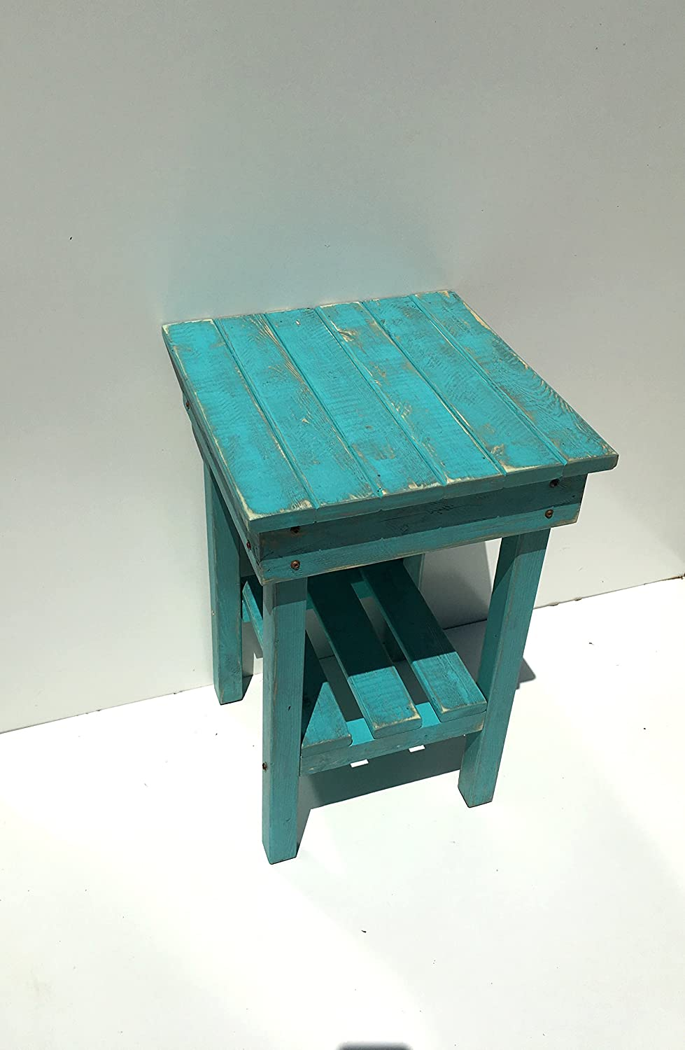 Distressed Night Stand/Distressed Turquoise End Table/Bed Side Tables/Rustic Table/Farmhouse Side Table/Vintage/Wooden Table