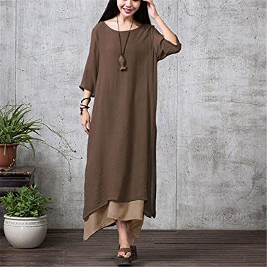 Sicong2 Up-to-Date style Summer Autumn Dress Women Casual Loose Vestidos O Neck
