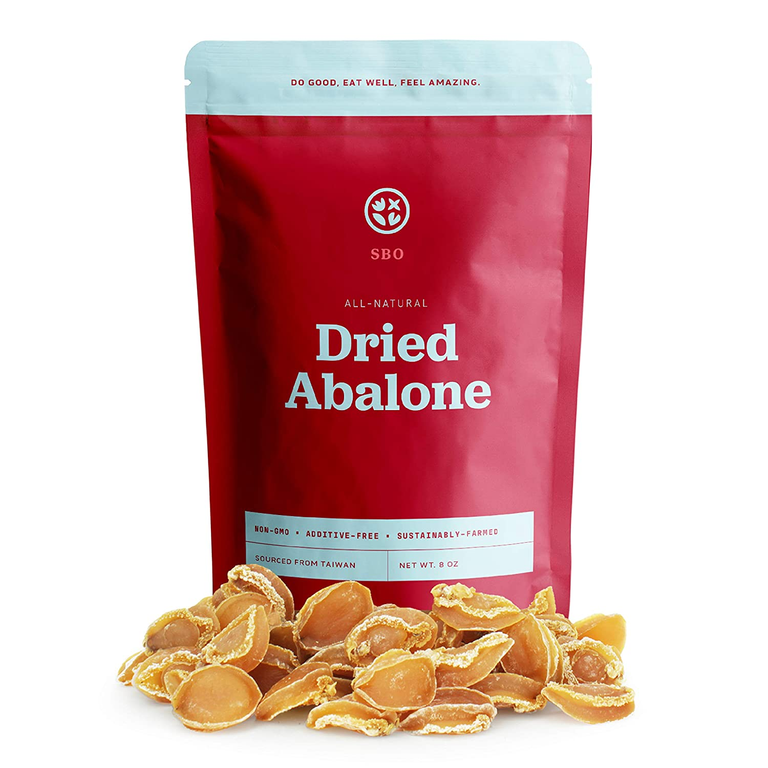 SBO Medium Size Dried Abalone - 8 oz Bag of Non-GMO Additive-Free Whole Dry Abalone Seafood Sustainably Sourced from Taiwan - 54 Pcs/LB
