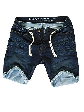 24782d8a8968 Sublevel Herren Jogg Jeans Shorts kurze Hose Bermuda Joggjeans Denim  Sweatpants Vintage Used Look Dunkelblau 147