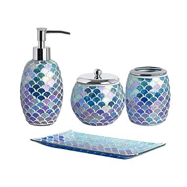 Whole Housewares 4-Pieces Bathroom Accessory Set Bright-Colored Mosaic Glass Bath Ensemble-Lotion Dispenser/Toothbrush Holder/Cotton Jar/vanity tray (Blue)