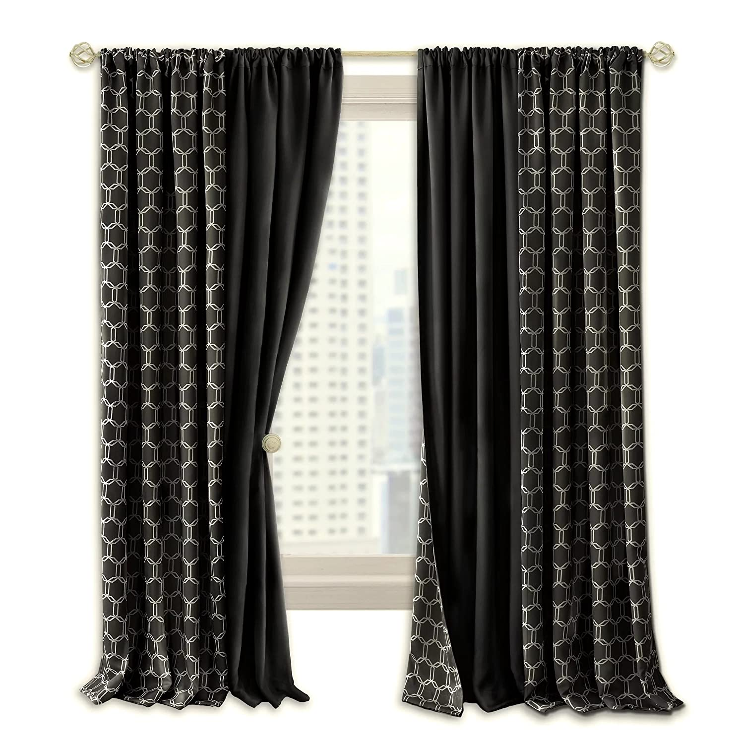 Navy Achim Home Furnishings Achim Home Imports Prelude Reversible Blackout Rod Pocket Curtain Panel 50 X