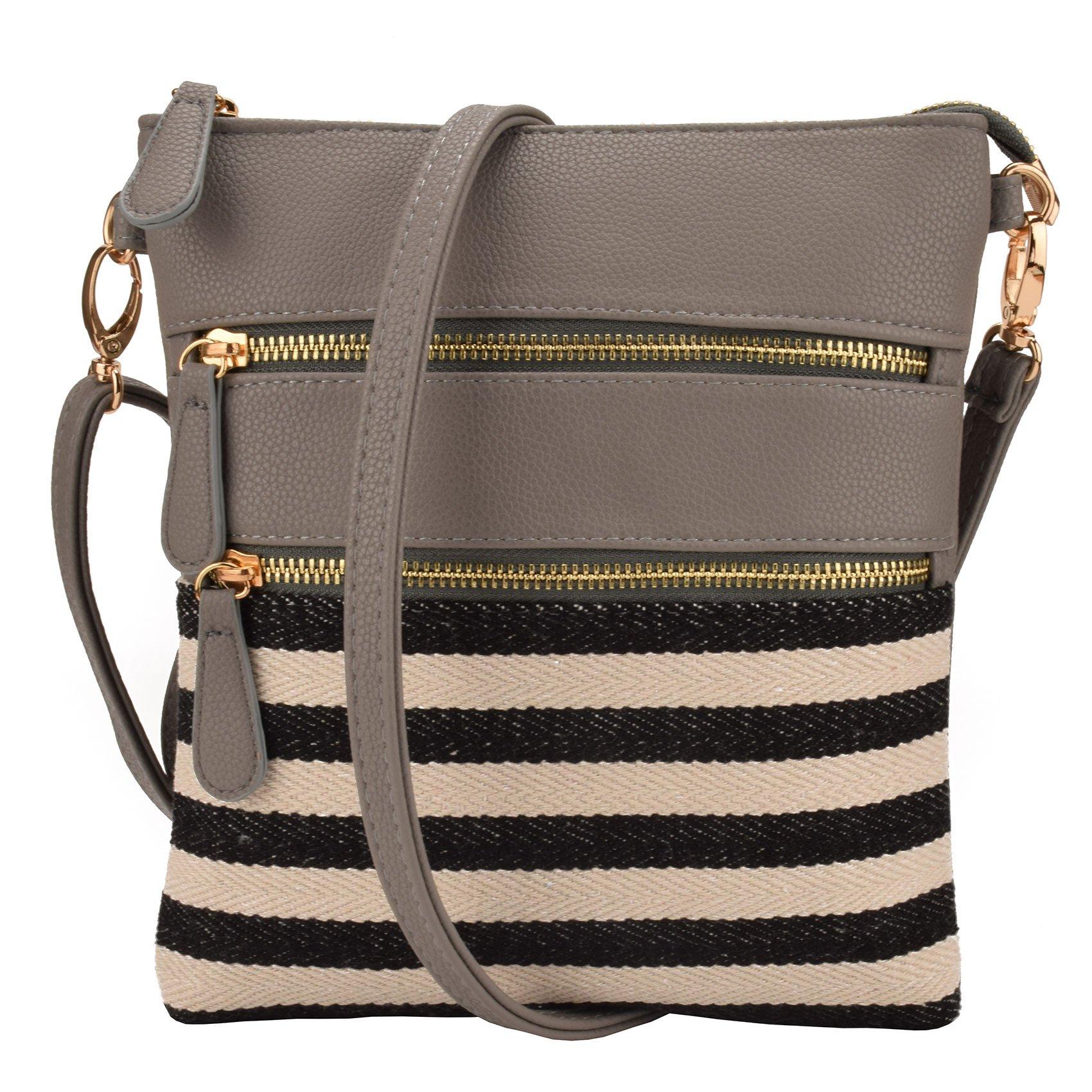 JIARUO Small Stripe Canvas patchwork leahter Women Crossbody bag handbag shoulder bag (Grey)