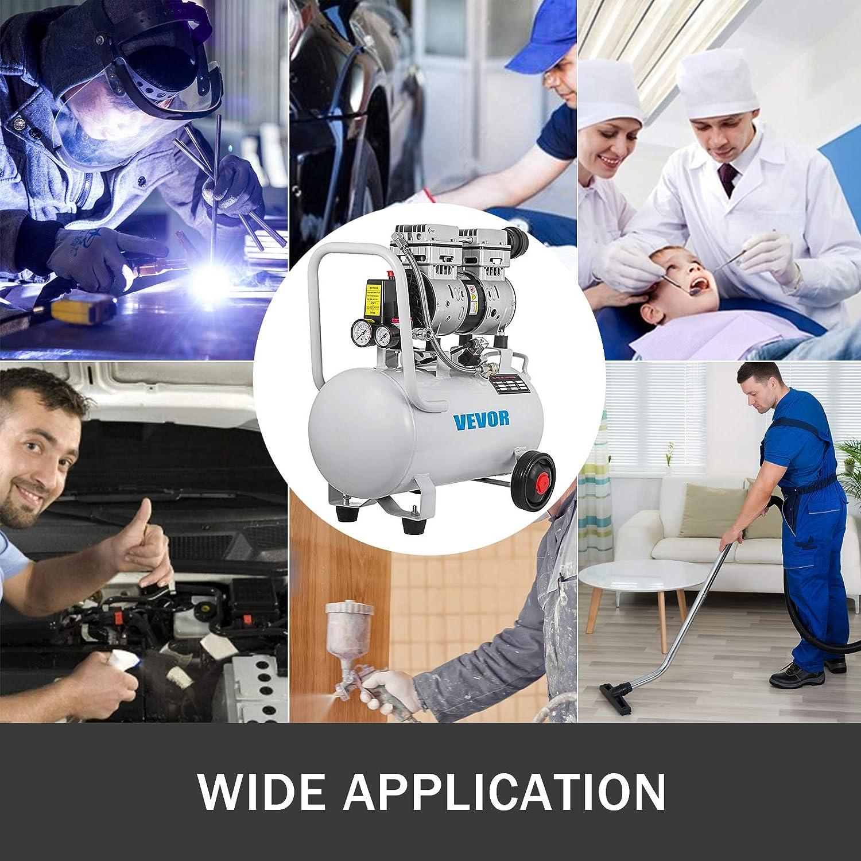 BuoQu 30L Druckluftkompressor 750W Luftabgabe Extra Leiser /Ölfreier Luftkompressor mit Magnetventil