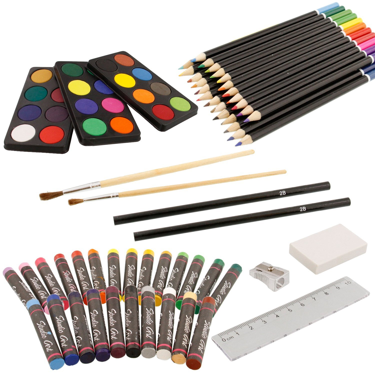 U.S Art Supply 82 Piece Deluxe Art Creativity Set in Wooden Case with 2-Pads of 9x12 90 Pound 30 Sheet Sketch Books