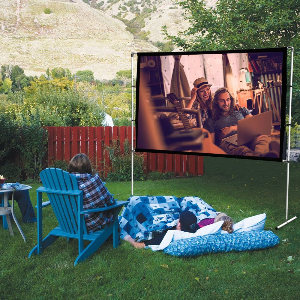 HENZIN Projektion leinwand 120 Zoll,Tragbare Projektion sfl/äche mit 16:9 HD 4K Bildschirm f/ür Heimkino,Faltbare Beamer Leinwand 276cmx160cm