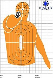 iCandy Combat Orange Shooting Silhouette Targets for Shooting Firing Range Hand Gun Target
