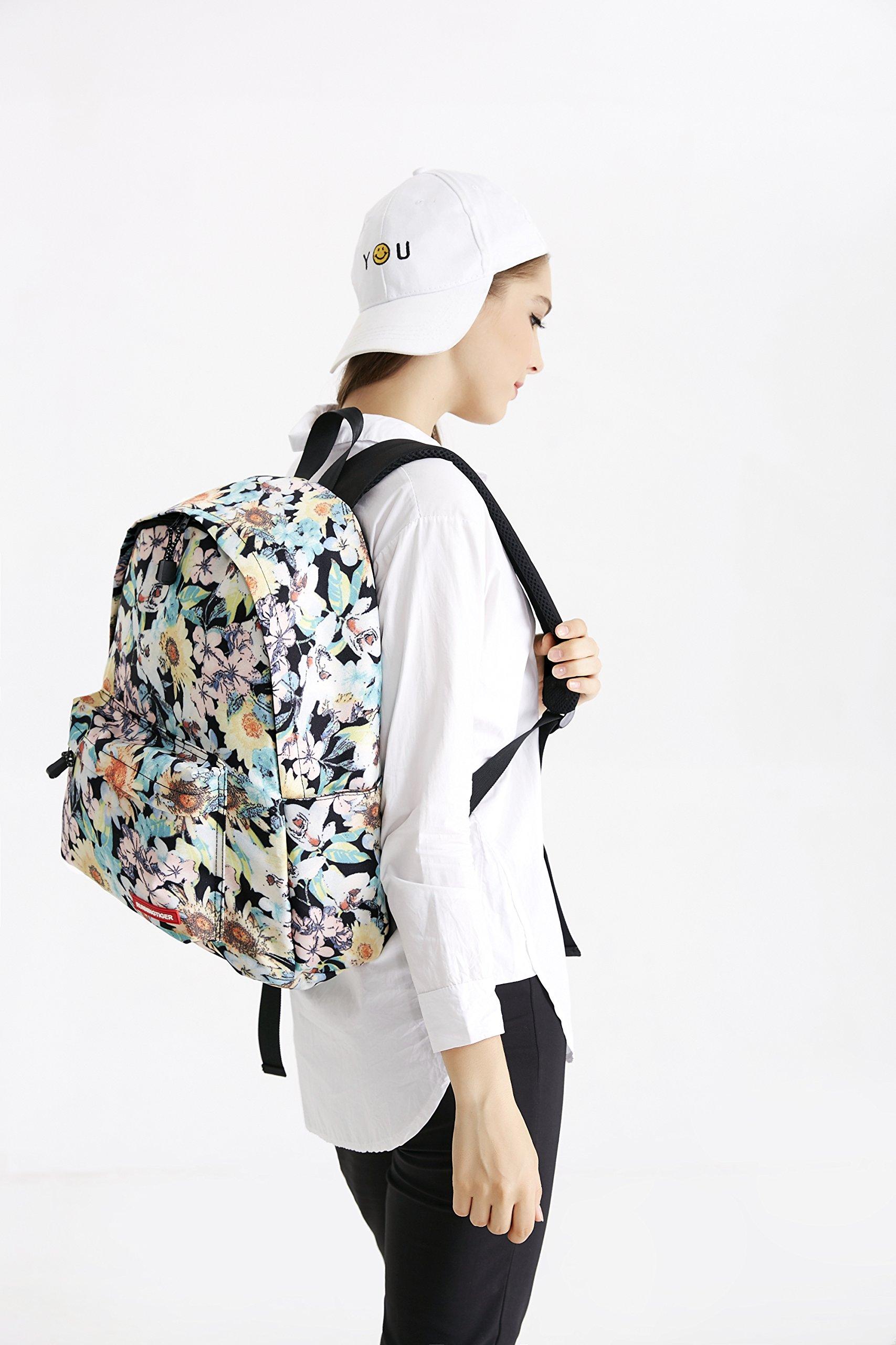 Canvas Backpack, Businda Cute Backpacks School Bookbags Printing Zipper Backpacks Fashion School Bags Casual Canvas Laptop Protective Rucksack for Kids Adults Boys Girls by Businda (Image #3)