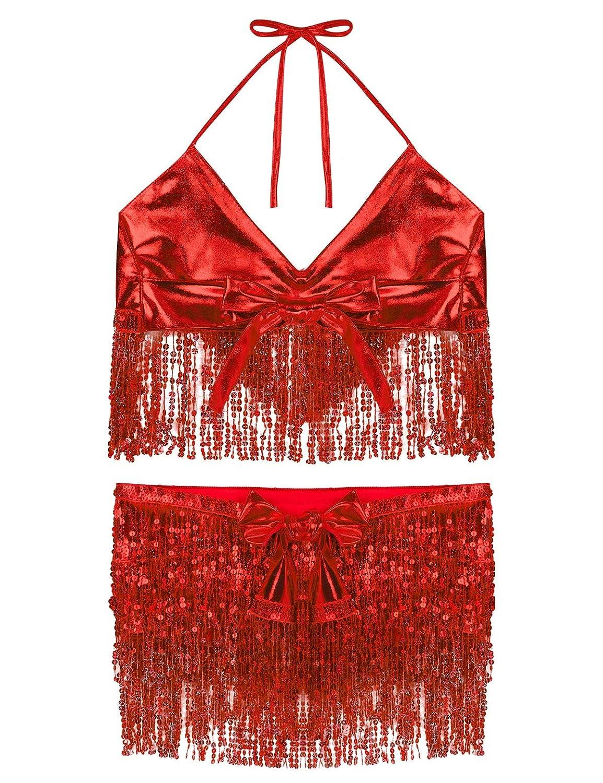 inhzoy Vestido de Danza del Vientre Flecos para Mujer Top Cuello Halter con Falda Danza del Oriental Lentejuelas Traje de Danza Latino Dancewear
