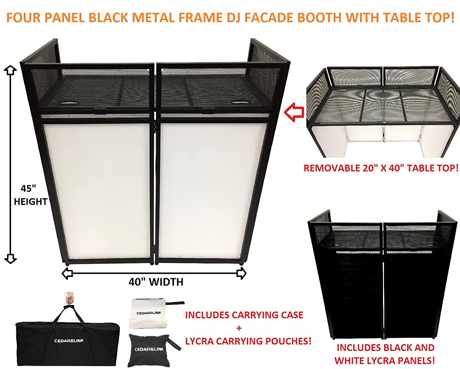 Amazon.com: DJ Event Facade White/Black Scrim Metal Frame Booth + 20 ...
