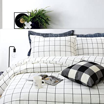 Amazoncom Fadfay Black And White Grid Duvet Cover Sets Lightweight